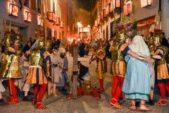 Årlig procession av korsfästelsen av Jesus Christ på easter Fotografering för Bildbyråer