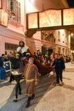 Årlig procession av korsfästelsen av Jesus Christ på easter Royaltyfri Fotografi