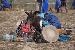 Årlig sammankomst av shamans på Olkhon Royaltyfri Bild