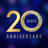 Årsdag 20 år guld- vektorlogo royaltyfri illustrationer