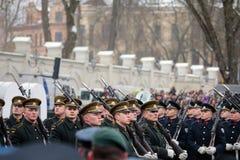 100. årsdag av återställandet av den litauiska statsstatusen Royaltyfria Foton
