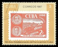 Årsdag av kubanska järnvägar Arkivbild