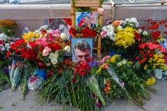 Årsdag av mordet av den oppositional politikern Boris Nemts Royaltyfri Bild