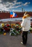 Årsdag av mordet av den oppositional politikern Boris Nemts Arkivbild
