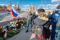 Årsdag av mordet av den oppositional politikern Boris Nemtsov Arkivbild