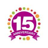 årsdag 15 färgade logodesignen, festligt berömemblem för lycklig ferie med bandvektorillustrationen stock illustrationer