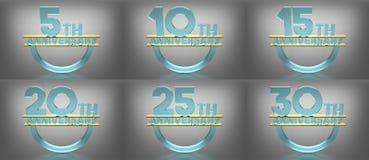 årsdag för text 3D, Glass material, olika nummer royaltyfri illustrationer