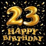 Årsdag 23 med fyrverkerier och skinande guld på mörk bakgrund Hälsningkort, baner, affisch Royaltyfria Foton