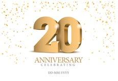 Årsdag 20 nummer för guld 3d royaltyfri illustrationer