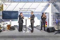 årsdag 25tg av tysk enhet i Frankfurt Arkivbilder