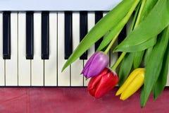 Årsdagen blommar på pianotangentbordet royaltyfria foton
