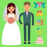 Årsdagen för lägenheten för uppsättningen för beröm för inbjudan för par för bröllopbrud- och brudgumvektorn fabulerar garnerings stock illustrationer