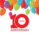 Årsdagen 10th sväller affischen, 10 år banerdesign royaltyfri illustrationer