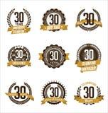 Årsdagguld förser med märke 30th fira för år stock illustrationer