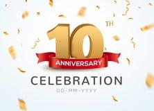 10 årsdagguldnummer med guld- konfettier För årsdaghändelse för beröm 10th mall för parti royaltyfri illustrationer