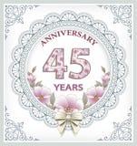 Årsdagkort 45 år Royaltyfria Foton