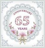 Årsdagkort 65 år Royaltyfri Fotografi