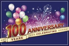 Årsdagkort 100 år Arkivbild