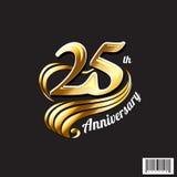 årsdaglogo för th 25 och symboldesign Royaltyfri Bild