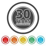 Årsdagsymbolsuppsättning Årsdagsymboler som isoleras på vit bakgrund 30 år vektor illustrationer
