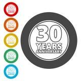Årsdagsymbolsuppsättning Årsdagsymboler som isoleras på vit bakgrund 30 år stock illustrationer