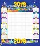 2018-2019 årskalender royaltyfri illustrationer