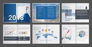 Årsrapport företagsprofil, byråbroschyr, presentationsmall som kan användas till mycket royaltyfri illustrationer