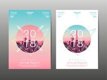 Årsrapport 2018, framtid, affär, mallorienteringsdesign, Co Royaltyfria Foton