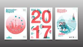 Årsrapport 2017, mallorienteringsdesign, räkningsbok vektor Royaltyfri Foto
