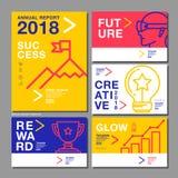 Årsrapportdesignmall 2018, affärsföretag, vektor Royaltyfri Fotografi