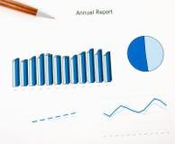 Årsrapportdiagramtryck och penna. Månatlig statistik. Arkivfoto