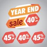 Årsslut Sale 40% 45% av rabattetiketten för att marknadsföra återförsäljnings- beståndsdeldesign royaltyfri illustrationer