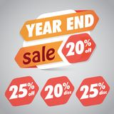 Årsslut Sale 20% 25% av rabattetiketten för att marknadsföra återförsäljnings- beståndsdeldesign royaltyfri illustrationer