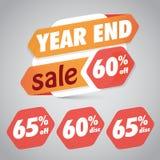 Årsslut Sale 60% 65% av rabattetiketten för att marknadsföra återförsäljnings- beståndsdeldesign vektor illustrationer