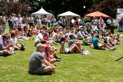 Åskådare som sitter på gräsklockakapacitet på festivalen Royaltyfria Foton