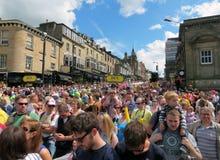 ÅskådareTour de France Harrogate 2014 Yorkshire Royaltyfri Bild