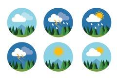 Åska för moln för himmel för prognos för vektor för lägenhet för vädersymbolsuppsättning solig stock illustrationer