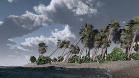 Åska-storm på den tropiska ön Arkivbild
