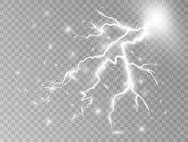 Åskastorm och blixt Pråligt begrepp för elkraft också vektor för coreldrawillustration stock illustrationer