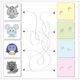 Åsna, mus, pingvin och varg med deras spår Royaltyfri Fotografi