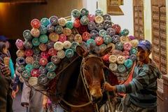 Åsna som transporterar tyger i Fez arkivfoton