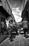 Åsnavagn vid medina gator Royaltyfria Foton