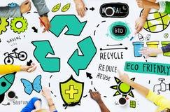 Återanvänd återanvänder förminskar Bio Eco vänligt miljöbegrepp arkivbild