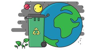 Återanvänd facket sparar jorden royaltyfri illustrationer