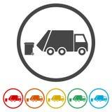 Återanvänd lastbilsymbolen, avskrädelastbilen, 6 inklusive färger Royaltyfria Foton