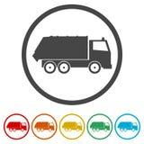 Återanvänd lastbilsymbolen, avskrädelastbilen, 6 inklusive färger Arkivbild