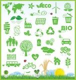 Återanvänd och ekologisymbolssamlingen Royaltyfri Fotografi