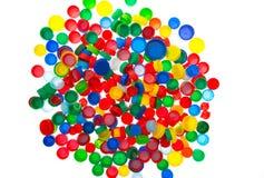Återanvänd plast- kapsyler, färgplast-lock Royaltyfri Fotografi