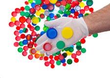 Återanvänd plast- kapsyler, färgplast-lock Fotografering för Bildbyråer
