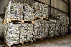 Återanvänd växten. Process av avskiljandet av avskräde, plast-, cans, Royaltyfri Bild